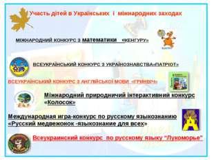 Участь дітей в Українських і міжнародних заходах МІЖНАРОДНИЙ КОНКУРСЗ матем