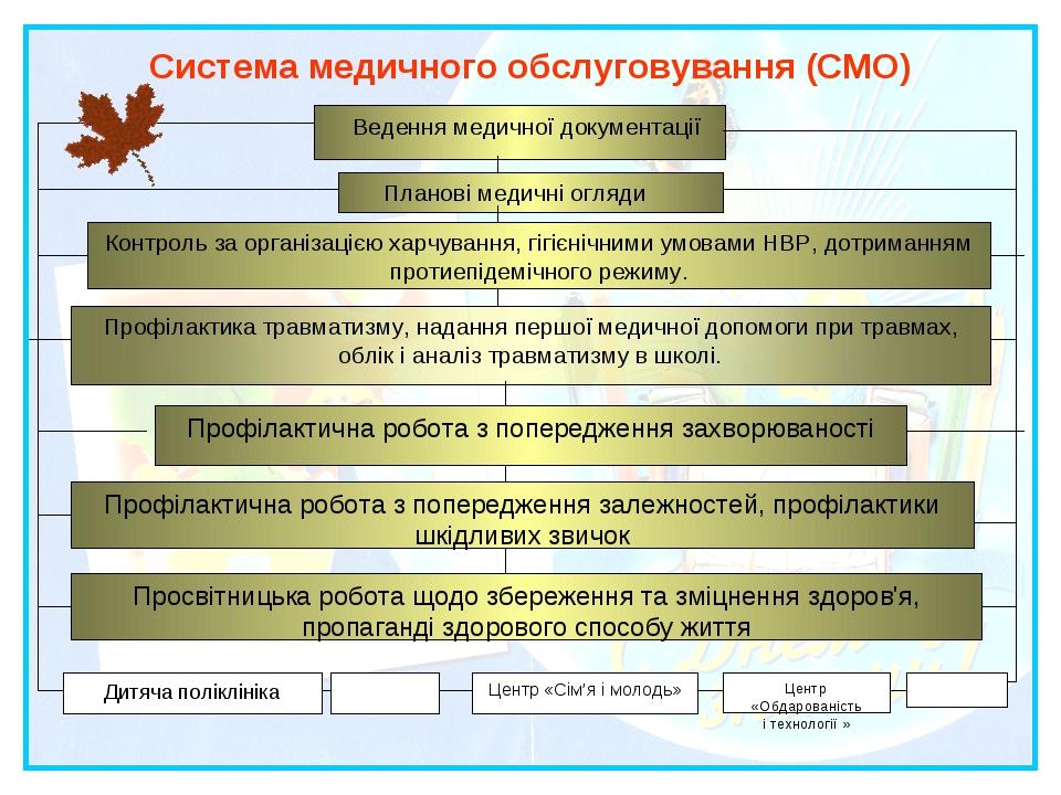Система медичного обслуговування (СМО) Ведення медичної документації Планові...