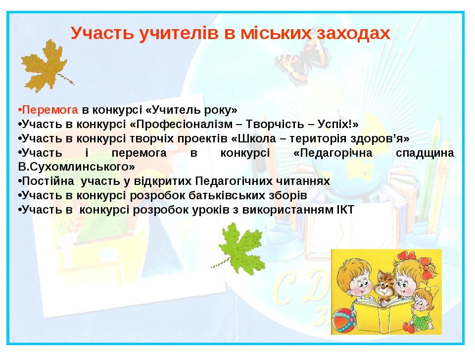 Участь учителів в міських заходах Перемога в конкурсі «Учитель року» Участь в...
