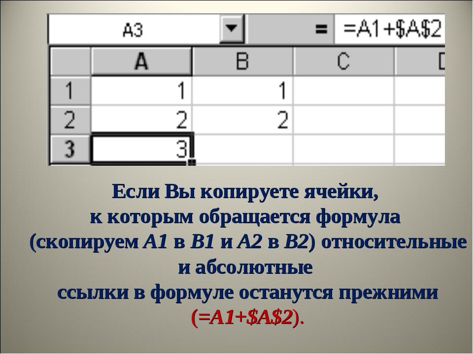 Если Вы копируете ячейки, к которым обращается формула (скопируемA1вB1иA...
