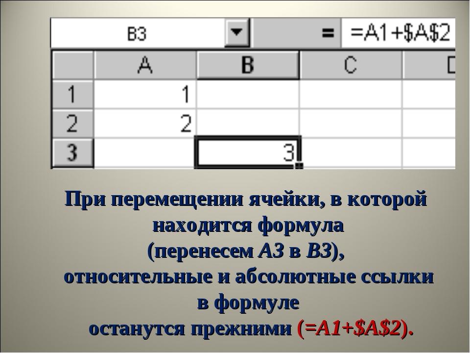 При перемещении ячейки, в которой находится формула (перенесемA3вB3), отно...