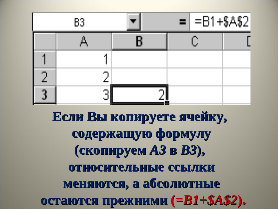 Если Вы копируете ячейку, содержащую формулу (скопируемA3вB3), относительн...