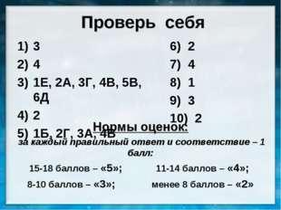 Нормы оценок: Нормы оценок:  за каждый правильный ответ и соответствие – 1