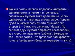 Как и в самом первом подобном алфавите - финикийском, а потом и в греческом,