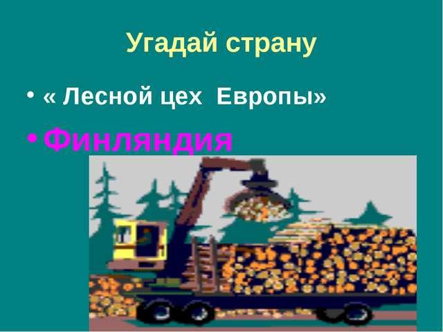Угадай страну « Лесной цех Европы» Финляндия