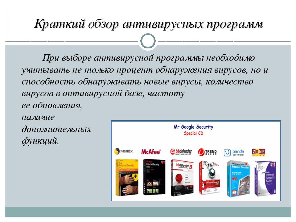 Краткий обзор антивирусных программ При выборе антивирусной программы необх...