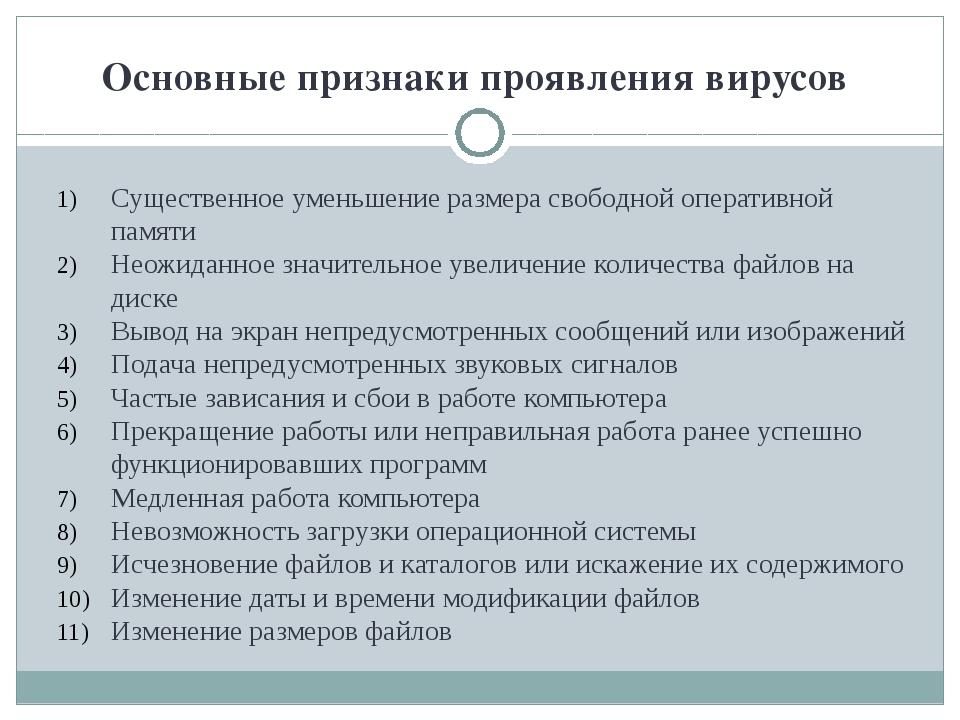Основные признаки проявления вирусов Существенное уменьшение размера свободно...