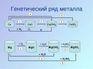 Генетический ряд металла Ca CaO CaSO3 Ca(OH)2 Mg MgO Mg(OH)2 MgSO4 + O2 + H2O