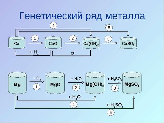Генетический ряд металла Ca CaO CaSO3 Ca(OH)2 Mg MgO Mg(OH)2 MgSO4 + O2 + H2O...