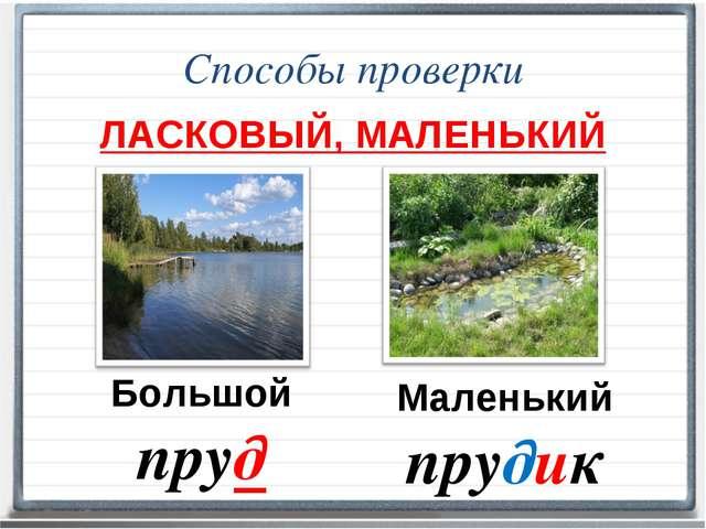 Способы проверки ЛАСКОВЫЙ, МАЛЕНЬКИЙ Большой пруд Маленький прудик