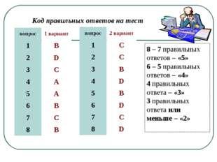 Код правильных ответов на тест 8 – 7 правильных ответов – «5» 6 – 5 правильны