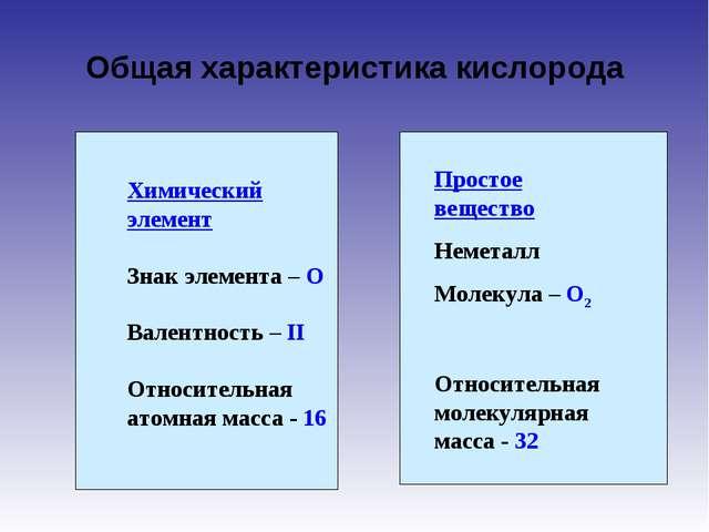 Общая характеристика кислорода Химический элемент Знак элемента – О Валентнос...