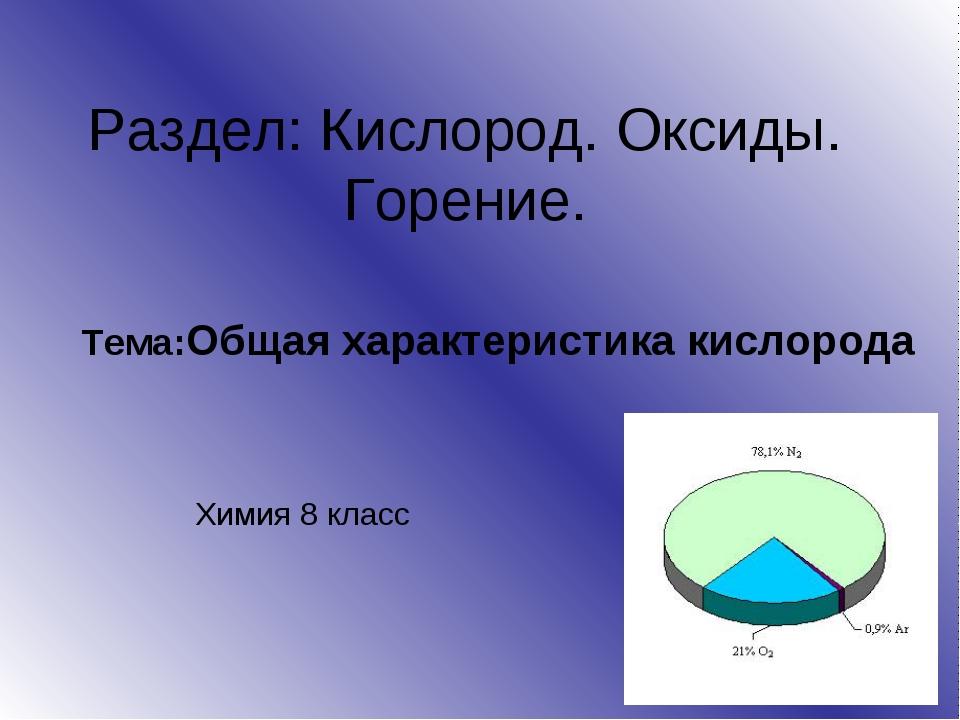 Раздел: Кислород. Оксиды. Горение. Тема:Общая характеристика кислорода Химия...