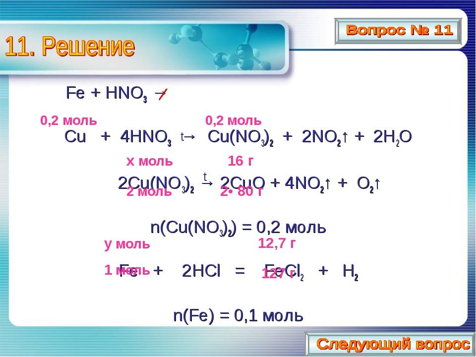 Fe + HNO3 → Cu + 4HNO3 → Cu(NO3)2 + 2NO2↑ + 2H2O  2Cu(NO3)2 → 2CuO + 4NO2↑...