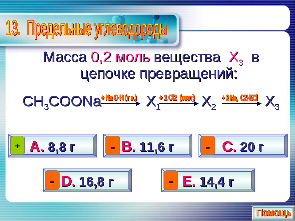 Масса 0,2 моль вещества Х3 в цепочке превращений: СН3СООNa Х1 Х2 Х3 А. 8,8 г...