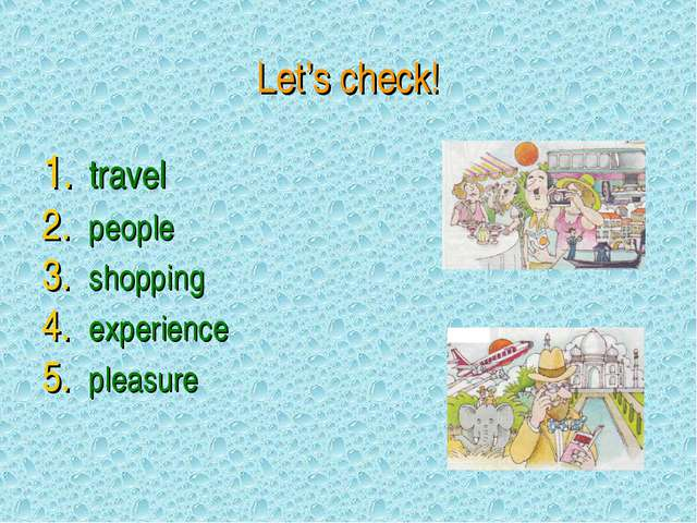Let's check! travel people shopping experience pleasure