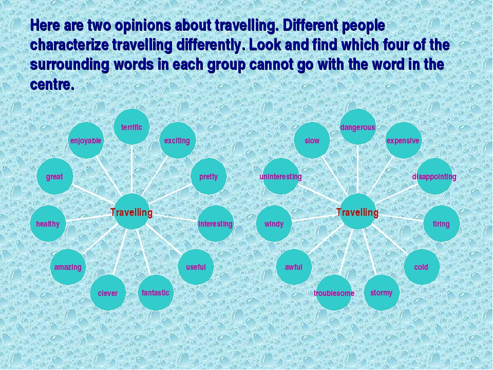 Here are two opinions about travelling. Different people characterize travell...