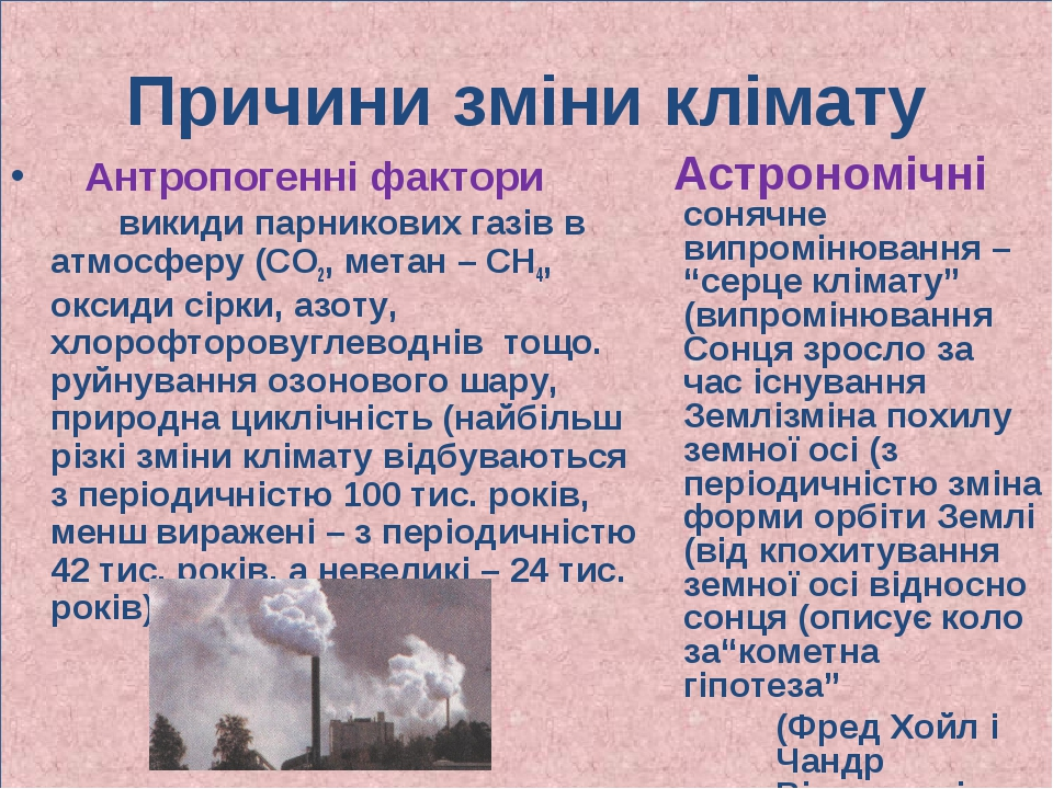 Причини зміни клімату Антропогенні фактори викиди парникових газів в атмосфер...
