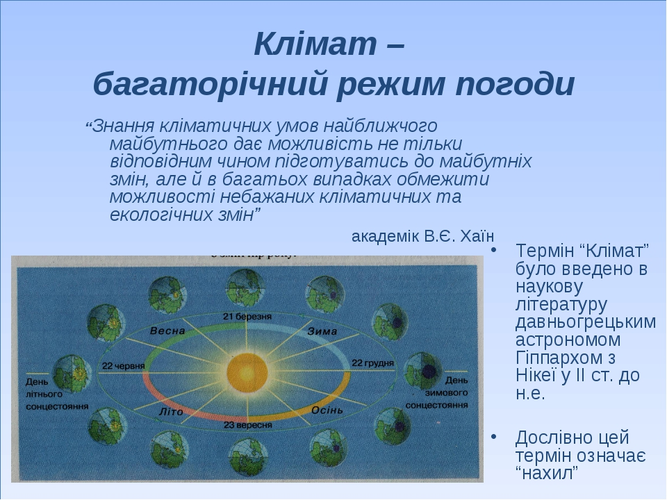 """Клімат – багаторічний режим погоди Термін """"Клімат"""" було введено в наукову літ..."""