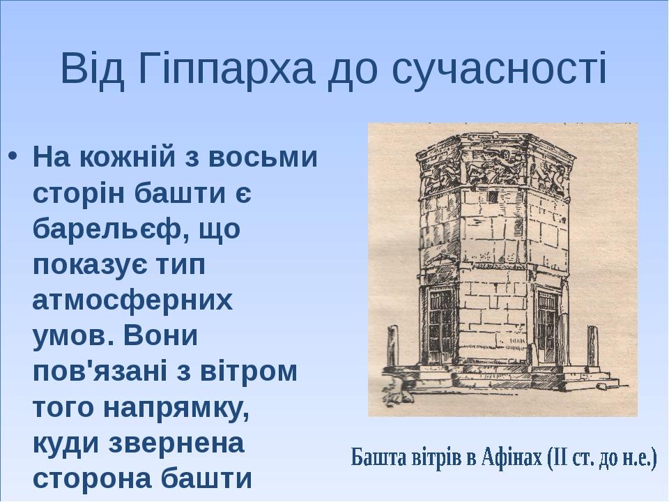 Від Гіппарха до сучасності На кожній з восьми сторін башти є барельєф, що пок...