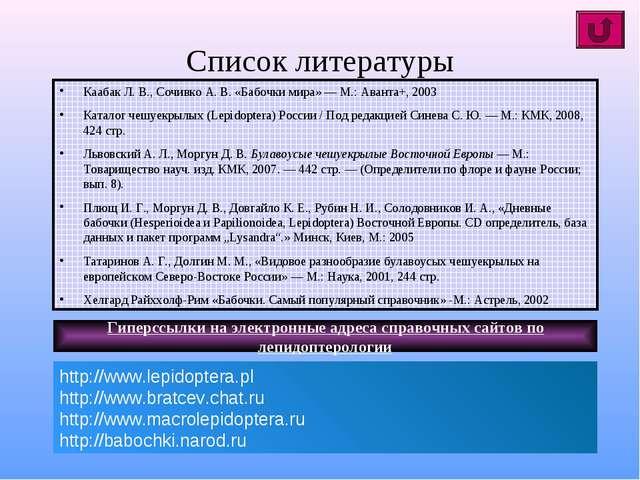 Список литературы Каабак Л. В., Сочивко А. В. «Бабочки мира» — М.: Аванта+, 2...