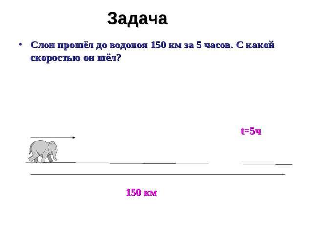 Задача Слон прошёл до водопоя 150 км за 5 часов. С какой скоростью он шёл? 15...