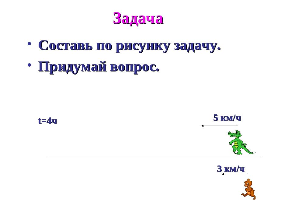 Задача Составь по рисунку задачу. Придумай вопрос. 3 км/ч 5 км/ч t=4ч