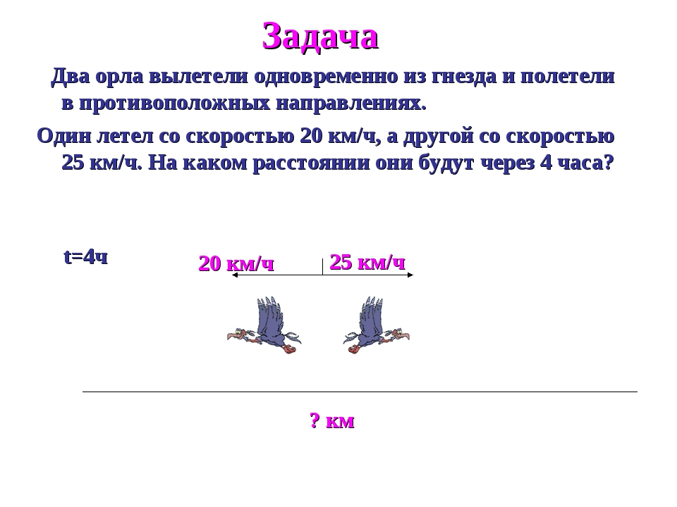 Задача Два орла вылетели одновременно из гнезда и полетели в противоположных...