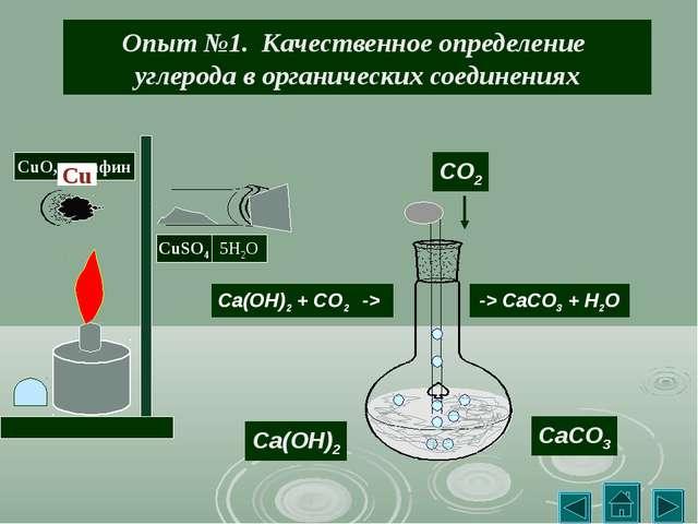 Опыт №1. Качественное определение углерода в органических соединениях CO2 Ca(...