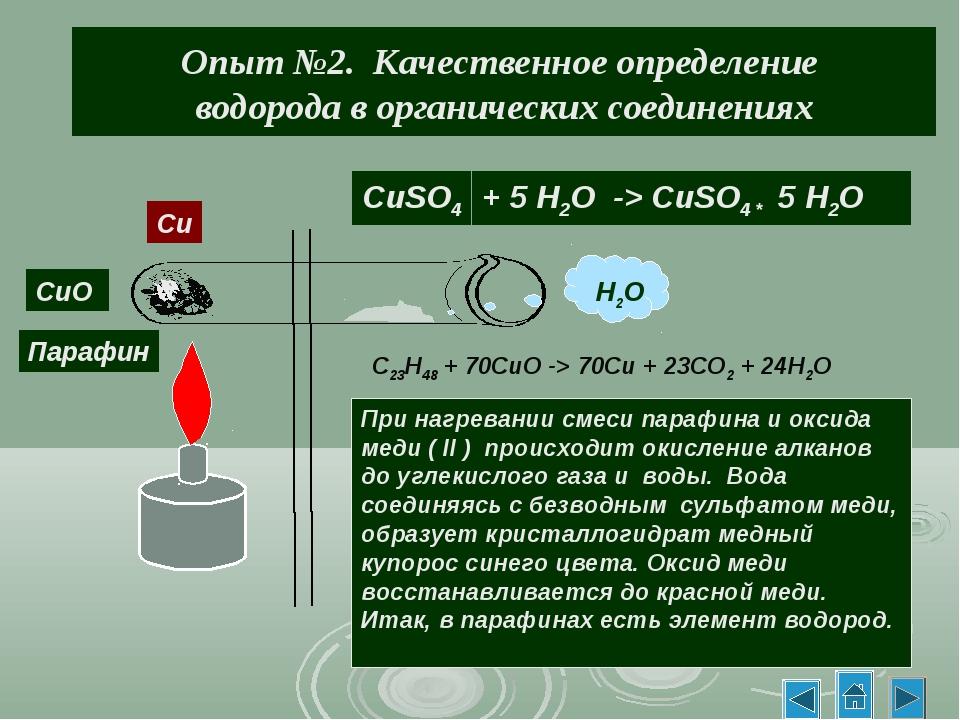 Опыт №2. Качественное определение водорода в органических соединениях H2O CuS...