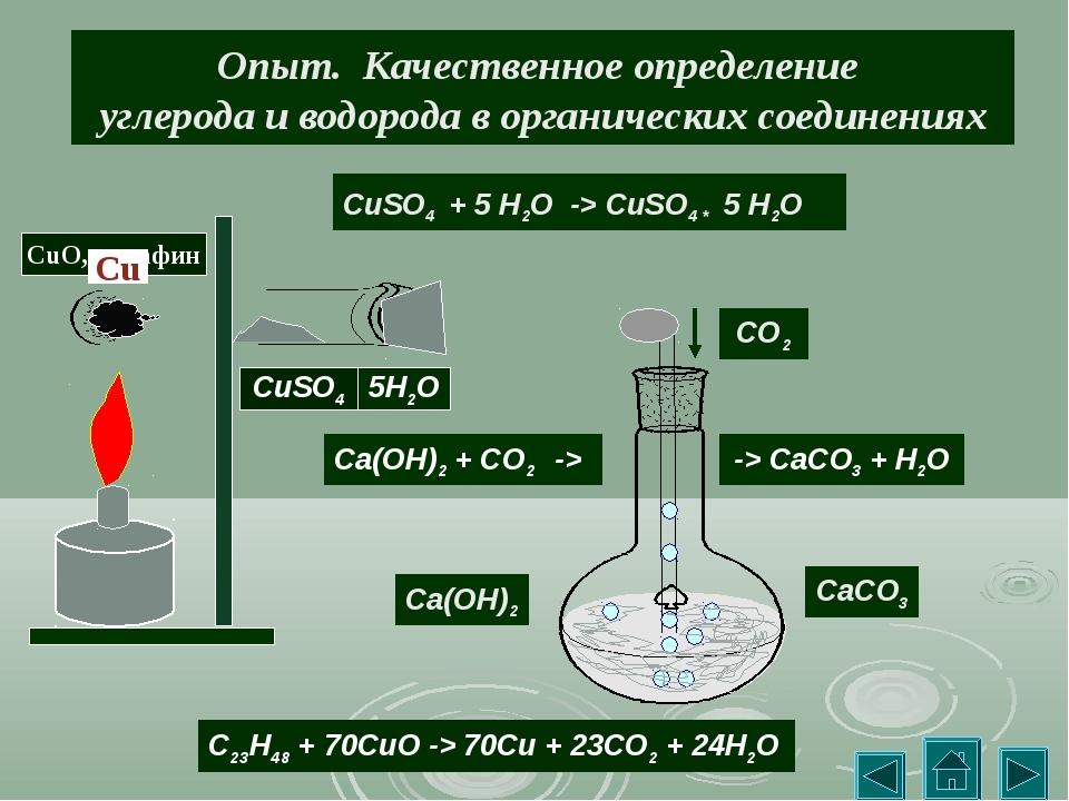 Опыт. Качественное определение углерода и водорода в органических соединениях...