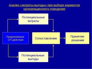 Анализ «затраты-выгоды» при выборе вариантов организационного поведения Потен