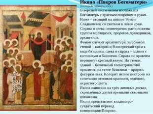 Икона «Покров Богоматери» (последняя четверть XV в.) В верхней части иконы из