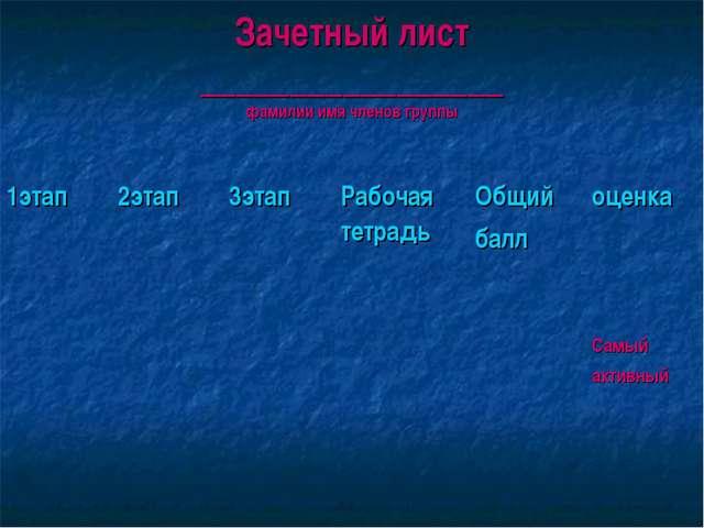 Зачетный лист _________________ фамилии имя членов группы