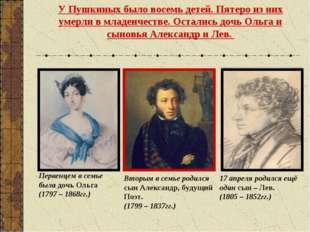 У Пушкиных было восемь детей. Пятеро из них умерли в младенчестве. Остались д