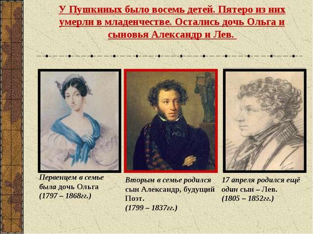 У Пушкиных было восемь детей. Пятеро из них умерли в младенчестве. Остались д...