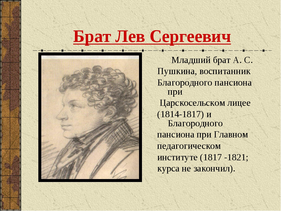Брат Лев Сергеевич Младший брат А. С. Пушкина, воспитанник Благородного панси...