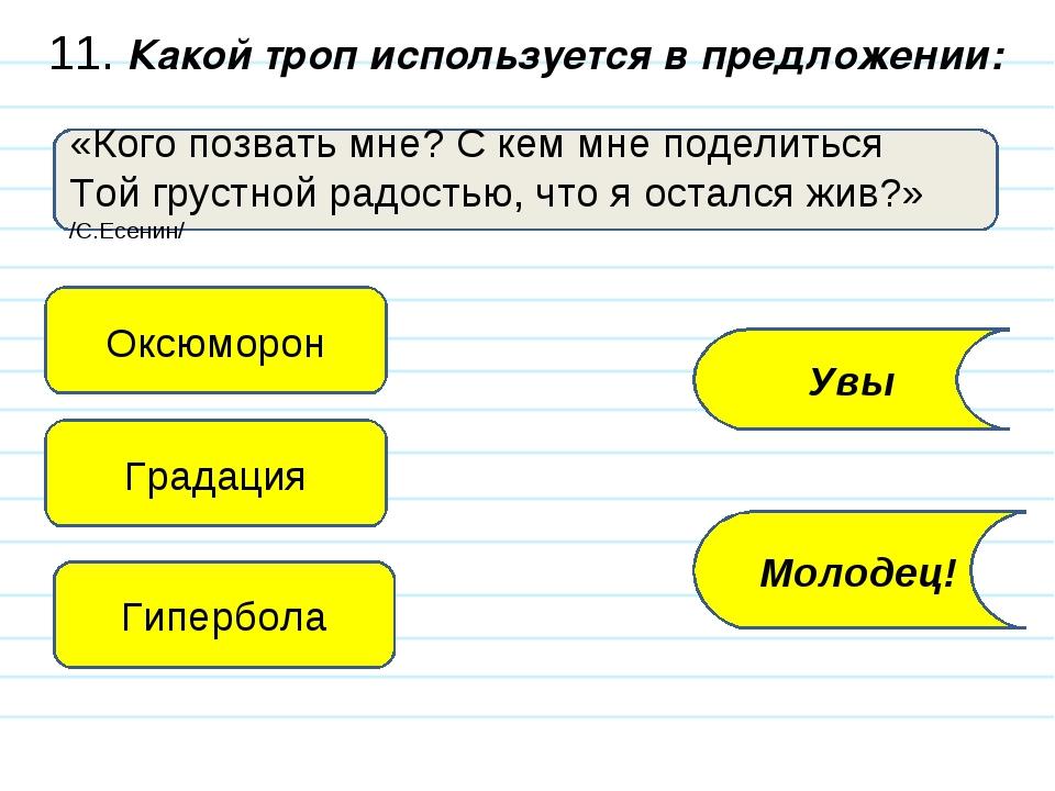 11. Какой троп используется в предложении: «Кого позвать мне? С кем мне подел...