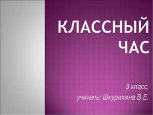 3 класс, учитель: Шкурихина В.Е.
