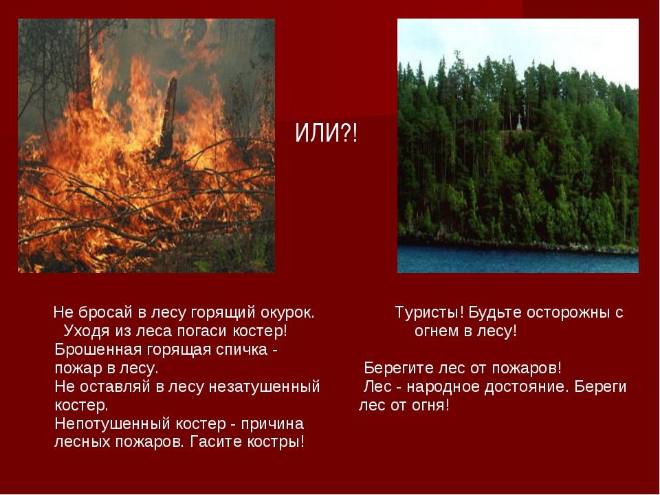 ИЛИ?! Не бросай в лесу горящий окурок. Уходя из леса погаси костер! Брошенная...