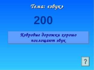 Тема: «звук» 200 Ковровые дорожки хорошо поглощают звук