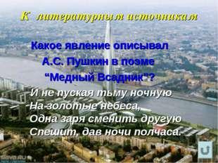 """К литературным источникам Какое явление описывал А.С. Пушкин в поэме """"Медный"""