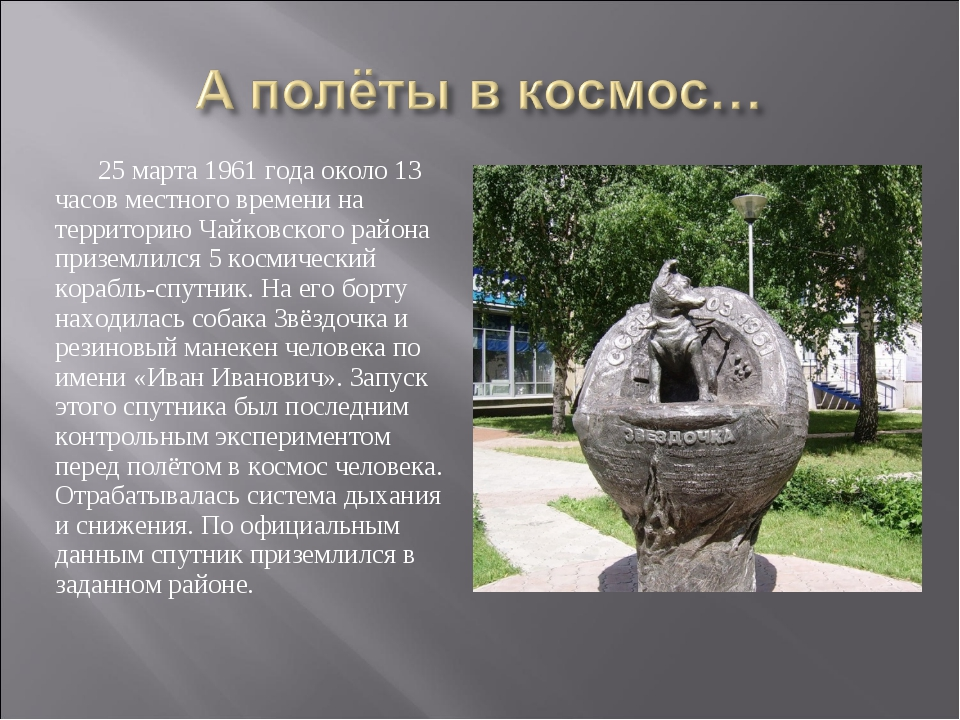 25 марта 1961 года около 13 часов местного времени на территорию Чайковского...