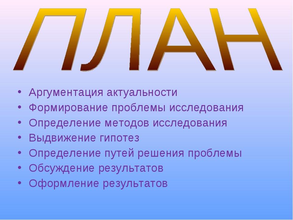 Аргументация актуальности Формирование проблемы исследования Определение мето...