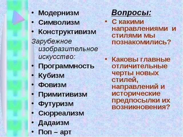 Модернизм Символизм Конструктивизм Зарубежное изобразительное искусство: Прог...