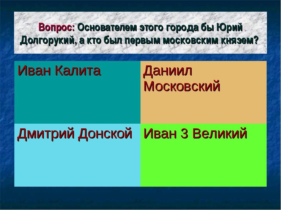Вопрос: Основателем этого города бы Юрий Долгорукий, а кто был первым московс...