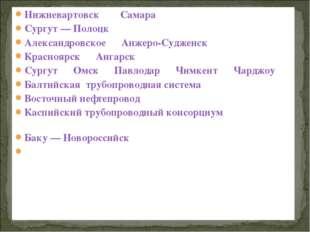 Нижневартовск—_Самара; Сургут— Полоцк; Александровское—Анжеро-Судженск;