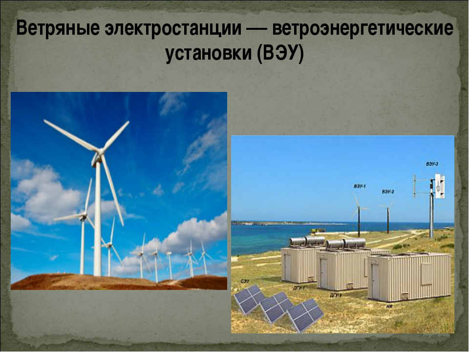 Ветряные электростанции — ветроэнергетические установки (ВЭУ)