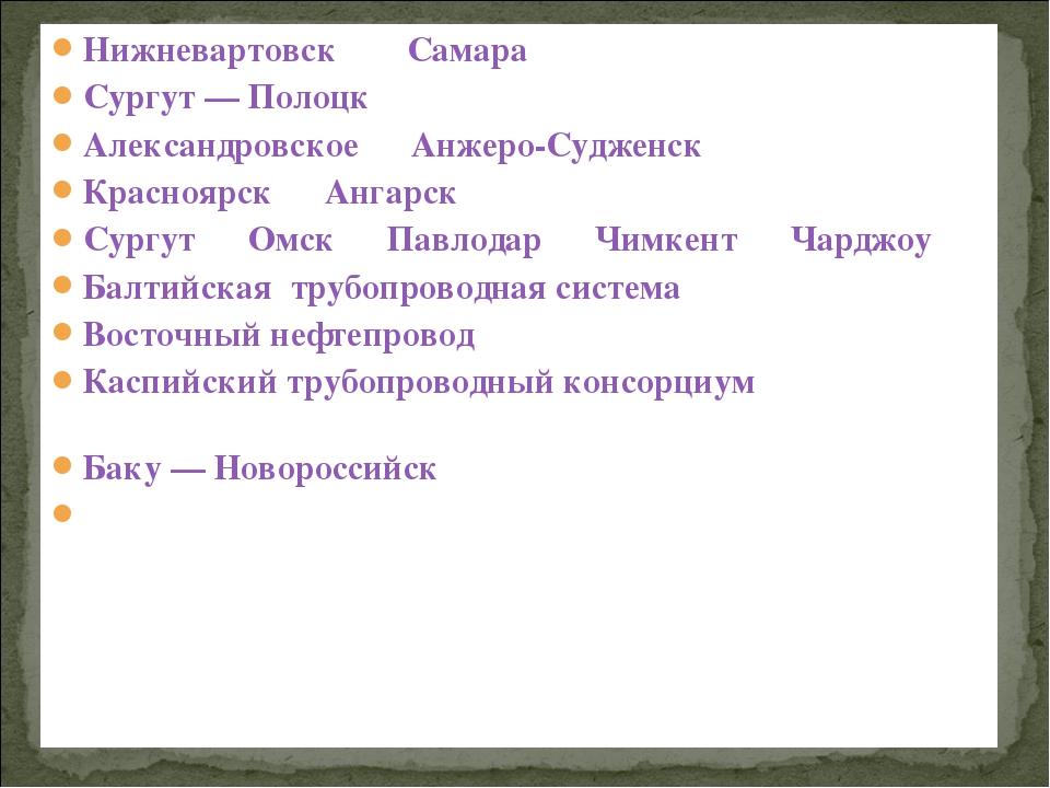 Нижневартовск—_Самара; Сургут— Полоцк; Александровское—Анжеро-Судженск;...