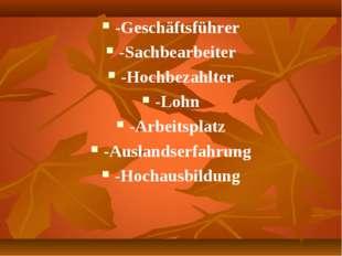 -Geschäftsführer -Sachbearbeiter -Hochbezahlter -Lohn -Arbeitsplatz -Auslands